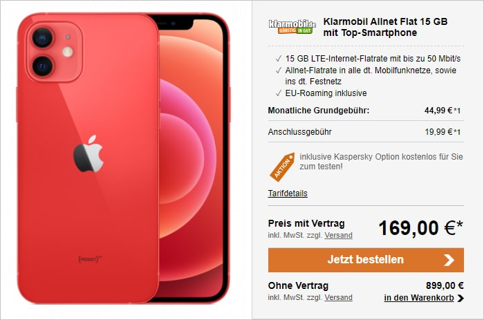 Apple iPhone 12 + klarmobil Allnet-Flat mit 15 GB LTE im Vodafone-Netz