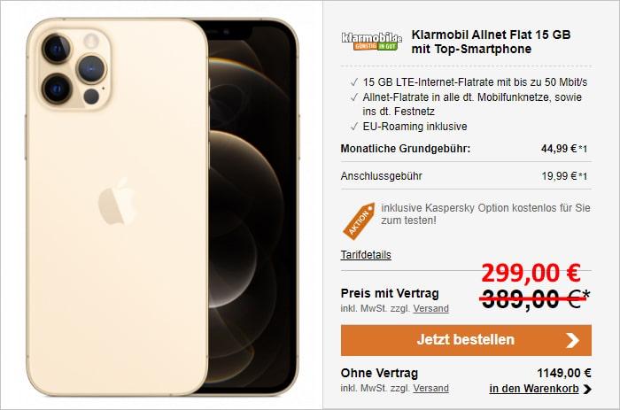 Apple iPhone 12 Pro + klarmobil Allnet-Flat im Vodafone-Netz