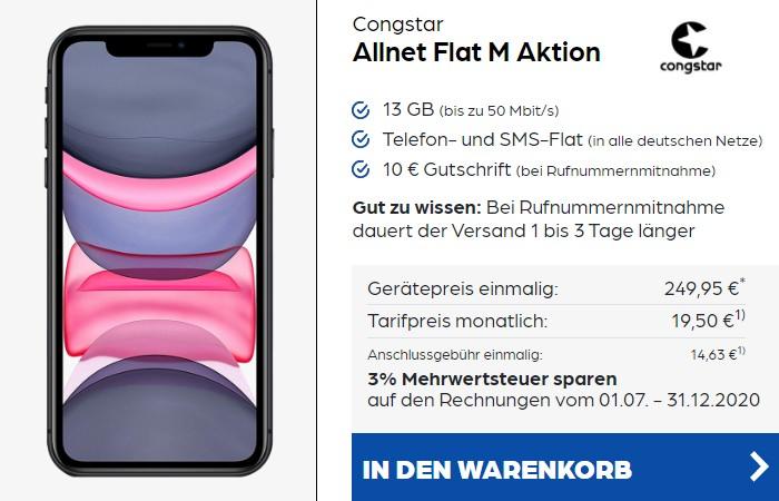iPhone 11 + congstar Allnet Flat M bei Preisboerse24
