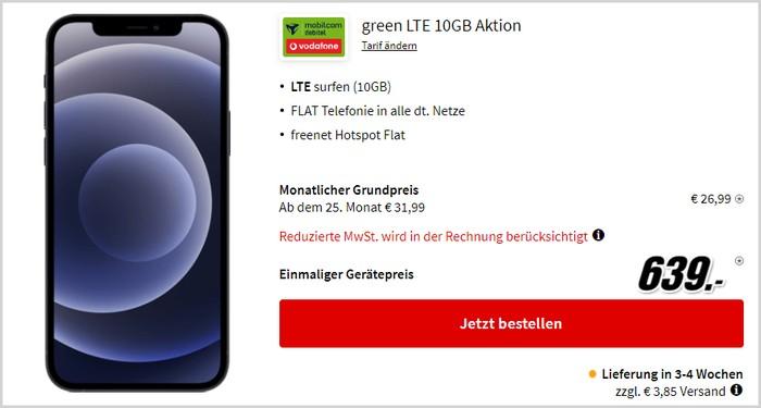 iPhone 12 + mobilcom-debitel green LTE (Vodafone-Netz) bei MediaMarkt