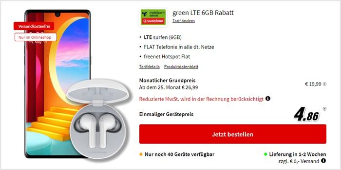 LG Velvet + LG ToneFree FN4 + mobilcom-debitel green LTE (Vodafone-Netz) bei MediaMarkt