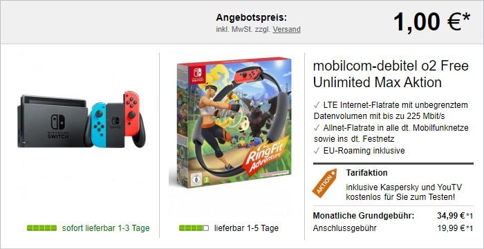 mobilcom-debitel Telefónica Free Unlimited Max + Nintendo Switch (2019) + Nintendo Ring Fit Adventure bei LogiTel