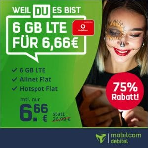 mobilcom-debitel green LTE (Vodafone-Netz) Halloween-Deal Thumbnail