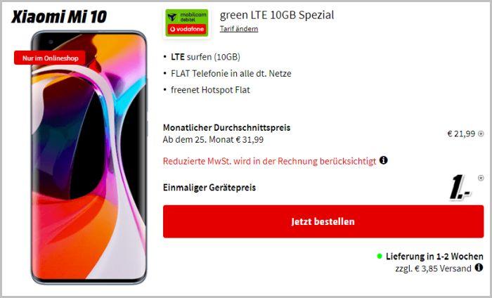 Xiaomi Mi 10 + mobilcom-debitel green LTE (Vodafone-Netz) bei Media Markt