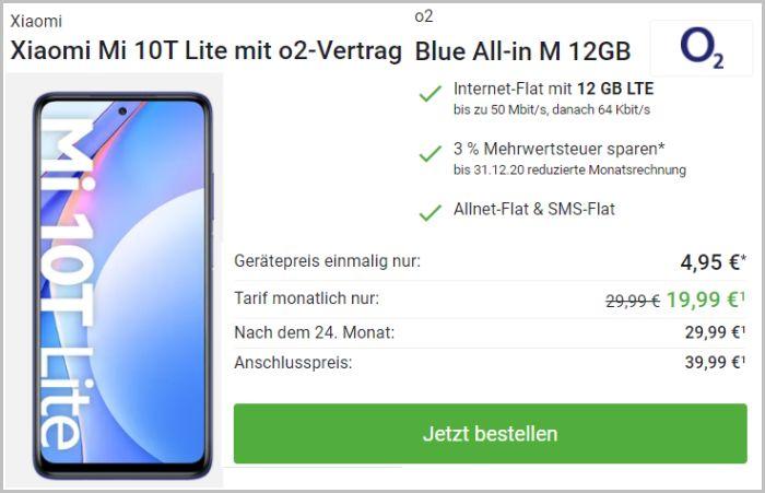 Xiaomi Mi 10T Lite mit Vertrag o2 Blue All-in M bei DeinHandy