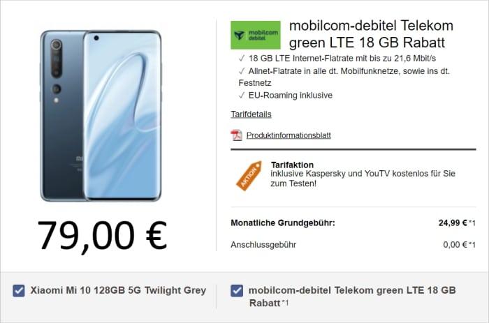 Xiaomi Mi 10 zu green LTE (telekom-Netz) bei LogiTel