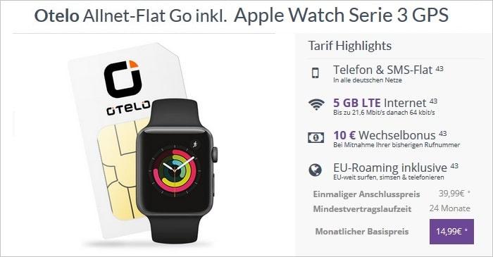 otelo Allnet-Flat Go inkl. Apple Watch Series 3 GPS bei FLYmobile