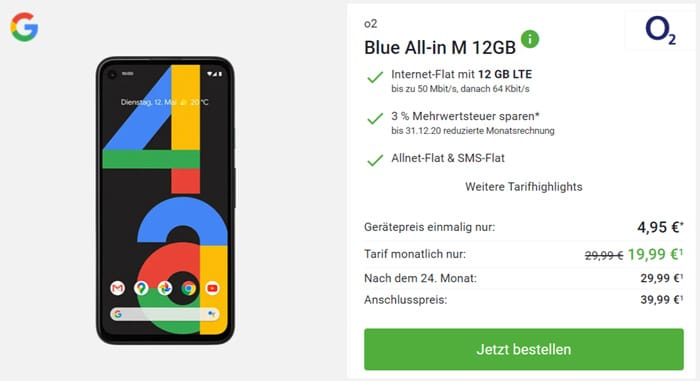 Google Pixel 4a mit o2 Blue All in M