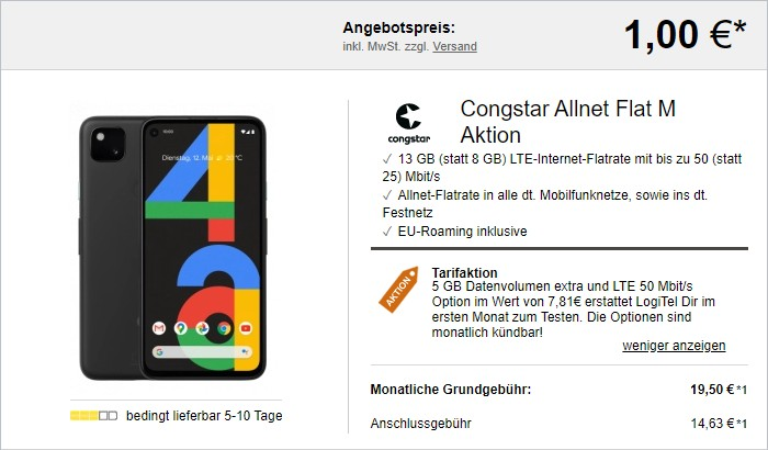 Google Pixel 4a + congstar Allnet Flat M bei LogiTel