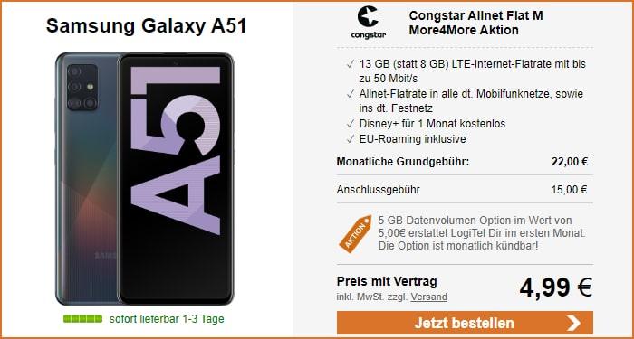 Samsung Galaxy A51 zur congstar Allnet Flat M bei LogiTel
