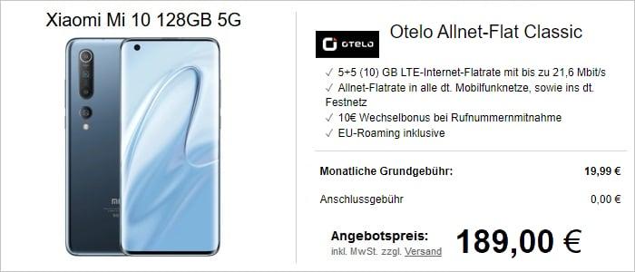 Xiaomi Mi 10 mit otelo Allnet-Flat Classic und 10 GB LTE im Vodafone-Netz bei LogiTel