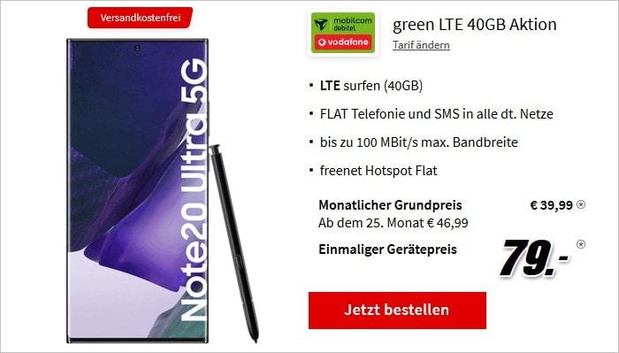 Samsung Galaxy Note 20 Ultra 5G mit green LTE 40 GB im Vodafone-Netz bei MediaMarkt