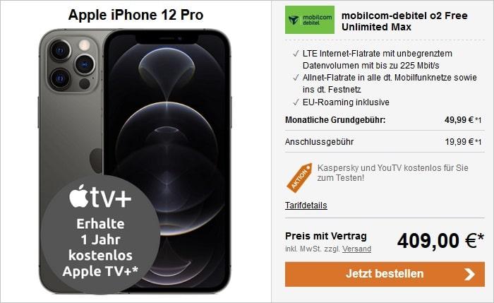 Apple iPhone 12 Pro 5G 128 GB Graphit mit mobilcom-debitel o2 Free Unlimited Max bei LogiTel