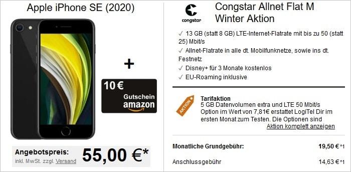 Apple iPhone SE 2020 mit Amazon und congstar Allnet Flat M bei LogiTel