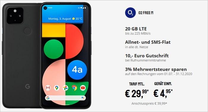 Google Pixel 4a mit 5G zum o2 Free M bei Sparhandy