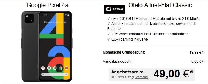 Google Pixel 4a mit otelo Allnet-Flat Classic bei LogiTel