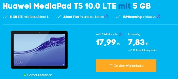 Huawei Mediapad T5 mit Blau Allnet L bei Blau