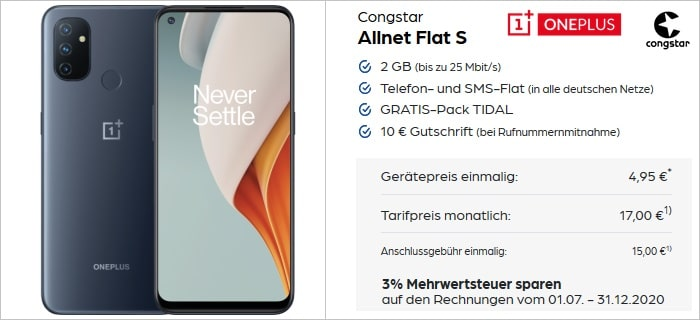 OnePlus Nord N100 mit congstar Allnet Flat S bei Preisboerse24