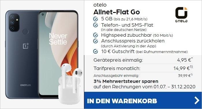 OnePlus Nord N100 mit otelo Allnet-Flat Go und gratis Kopfhörern