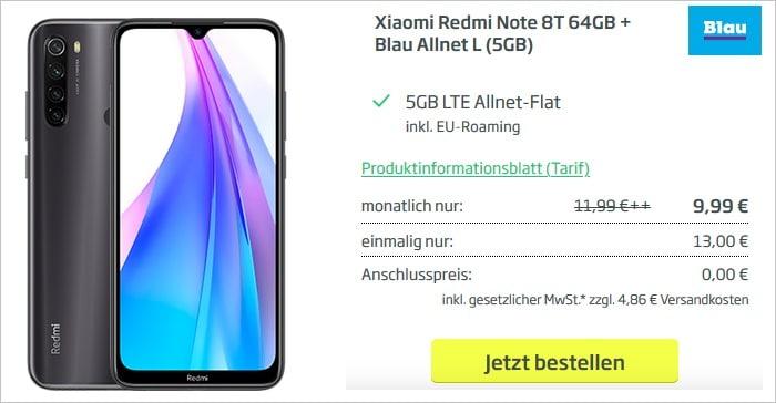 Redmi Note 8T mit Blau Allnet L 5 GB LTE bei Curved