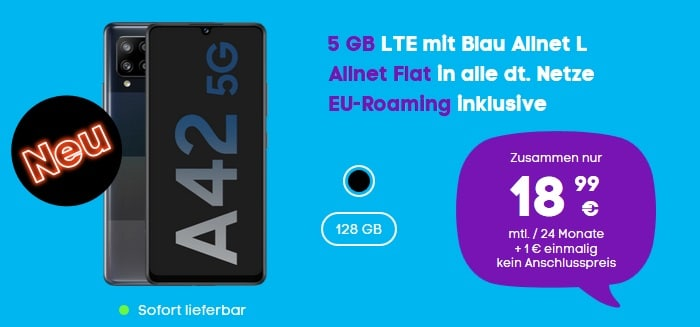 Samsung Galaxy A42 5G mit Blau Allnet L bei Blau