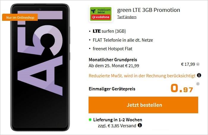 Samsung Galaxy A51 mit md green LTE 3 GB im Vodafone-Netz bei Saturn