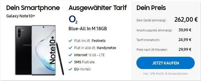 Samsung Galaxy Note 10 Plus zum o2 Blue All-in M