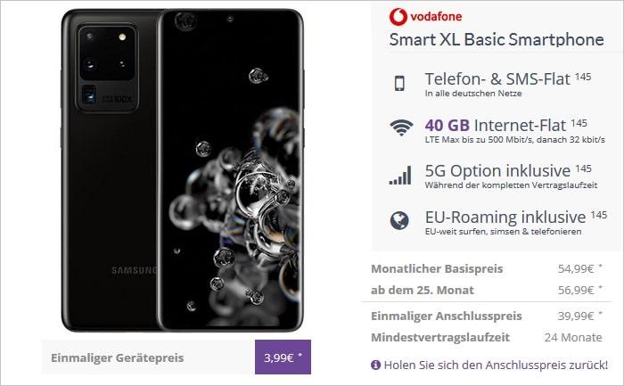 Samsung Galaxy S20 Ultra 5G mit Vodafone Smart XL 5G bei FLYmobile