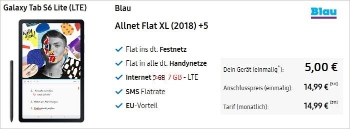 Samsung Galaxy Tab S6 Lite LTE mit Blau Allnet XL mit 7 statt 5 GB LTE im Samsung Shop