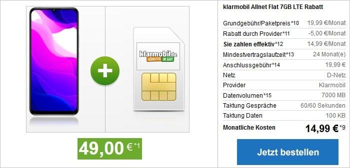 Xiaomi Mi 10 Lite 5G mit klarmobil Allnet Flat 7 GB GB LTE im Vodafone-Netz bei modeo