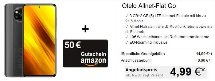 Xiaomi Poco X3 NFC mit 50 € Amazon Gutschein zur otelo Allnet Flat Go bei LogiTel