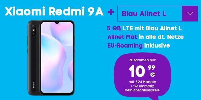 Xiaomi Redmi 9A mit Blau Allnet L und 5 GB LTE bei Blau