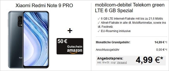Xiaomi Redmi Note 9 Pro mit mobilcom-debitel Telekom green LTE 6 GB bei LogiTel