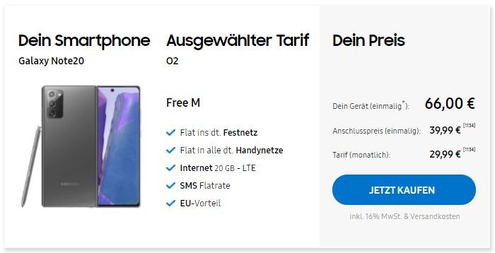 Samsung Galaxy Note + o2 Free M im Samsung Online-Shop