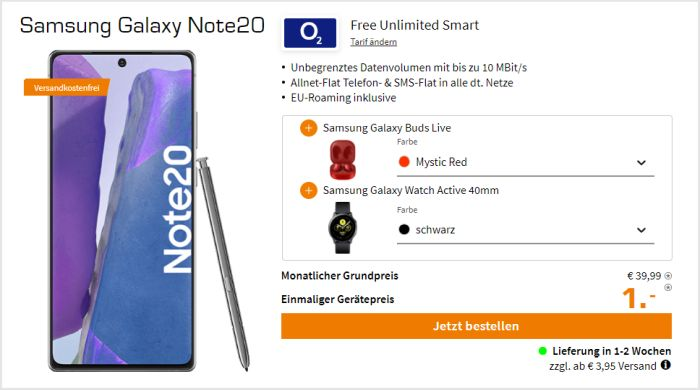 Samsung Galaxy Note 20 + Samsung Galaxy Buds Live + Samsung Galaxy Watch Active2 + o2 Free Unlimited Smart bei Saturn