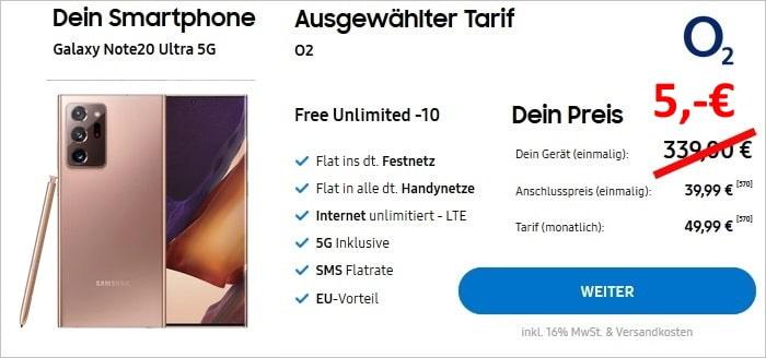 Samsung Galaxy Note20 Ultra 5G + o2 Free Unlimited im Samsung Online-Shop