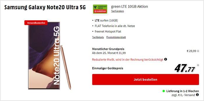 Samsung Galaxy Note 20 Ultra 5G + mobilcom-debitel green LTE (Vodafone-Netz) bei MediaMarkt
