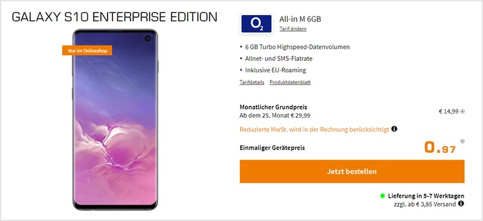 Samsung Galaxy S10 Enterprise Edition + o2 Blue All-In M bei Saturn