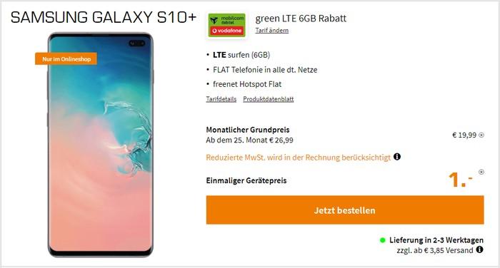 Samsung Galaxy S10 Plus + mobilcom-debitel green LTE (Vodafone-Netz) bei Saturn