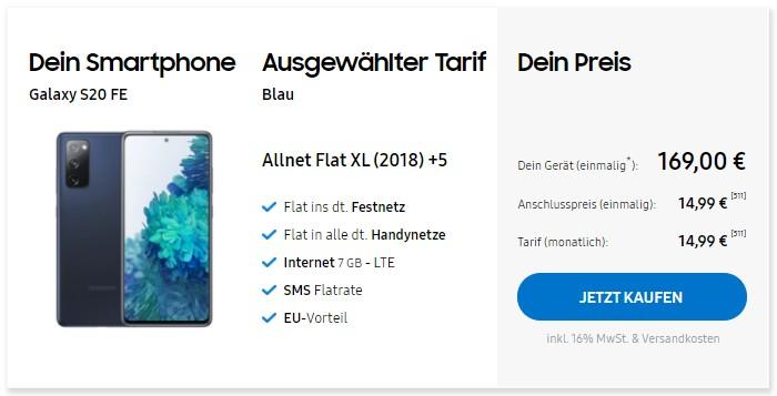 Samsung Galaxy S20 FE + Blau Allnet XL im Samsung Online-Shop