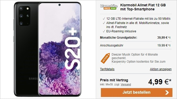 Samsung Galaxy S20 Plus zur klarmobil Allnet Flat mit 12 GB LTE im Vodafone-Netz bei LogiTel