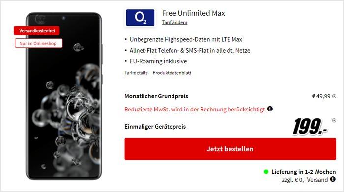 Samsung Galaxy S20 Ultra 5G + o2 Free Unlimited Max bei MediaMarkt