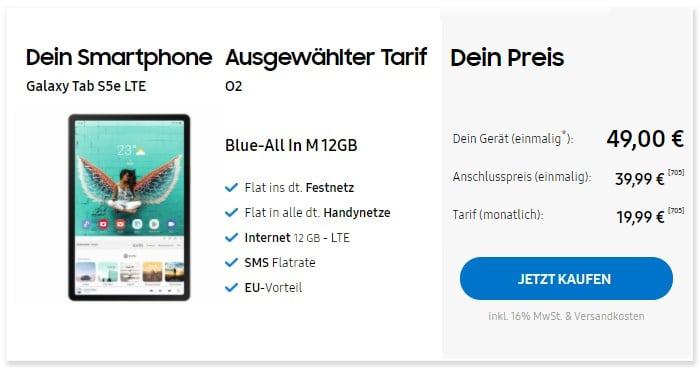 Samsung Galaxy Tab S5e LTE + o2 Blue All-In M im Samsung Online-Shop