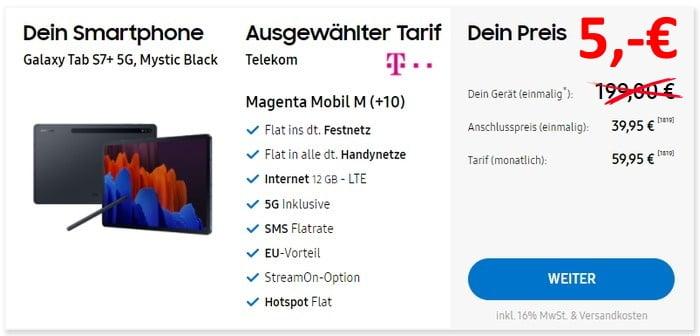 Samsung Galaxy Tab S7 Plus 5G + Telekom MagentaMobil M im Samsung Online-Shop
