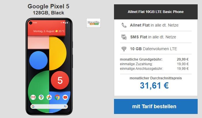 Google Pixel 5 mit klarmobil Allnet-Flat und 10 GB LTE