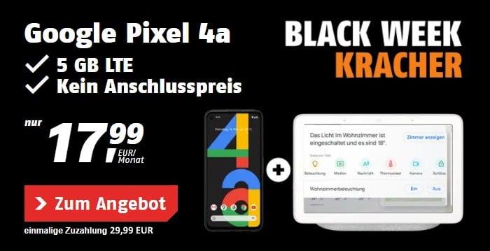 Google Pixel 4a + Google Nest Hub + klarmobil Allnet Flat (Telekom-Netz) bei klarmobil