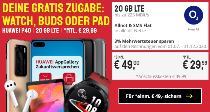 Huawei P40 mit o2 Free M und Zugabe bei Sparhandy