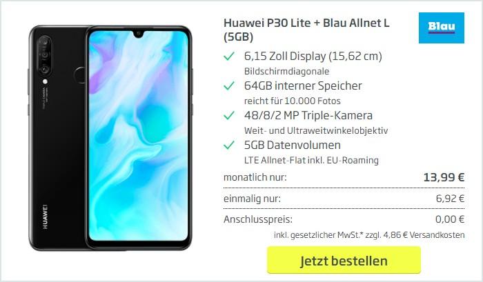Huawei P30 lite + Blau Allnet L bei Curved