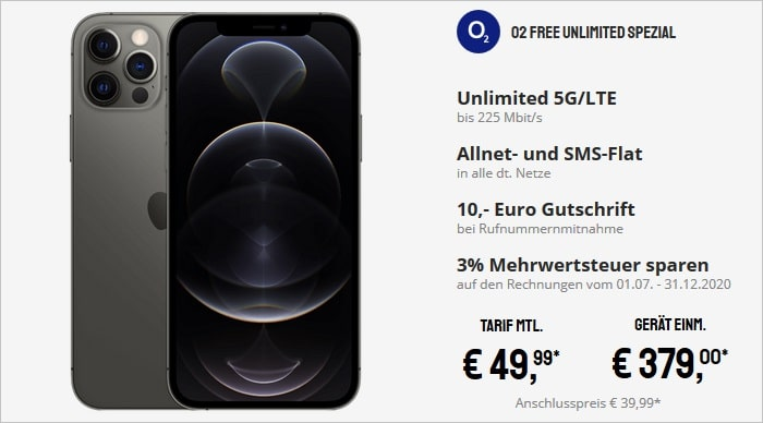 iPhone 12 Pro zum o2 Free Unlimited bei Sparhandy
