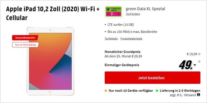 iPad (2020) LTE + mobilcom-debitel green Data XL (Telekom-Netz) bei MediaMarkt